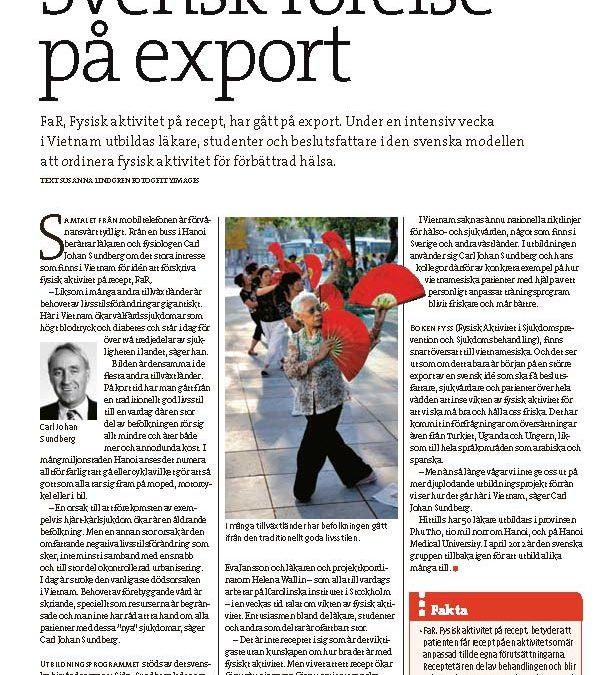 """""""Svensk rörelse på export"""" artikel i Forskning och hälsa"""